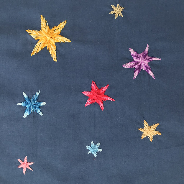 Joan B, embroidered stars